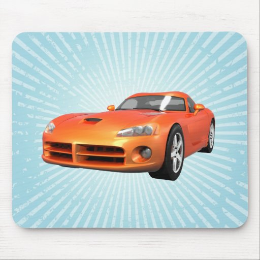 Viper Hard-Top Muscle Car: Orange Finish: Mousepad