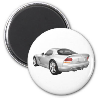 Viper Hard-Top Muscle Car: White Finish 6 Cm Round Magnet