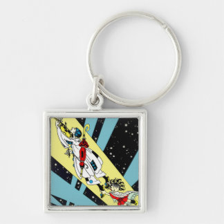 Viperetta Flies to the Moon Silver-Colored Square Key Ring