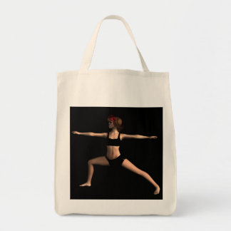 Virabhadrasana  II Yoga Pose Greeting Card Grocery Tote Bag