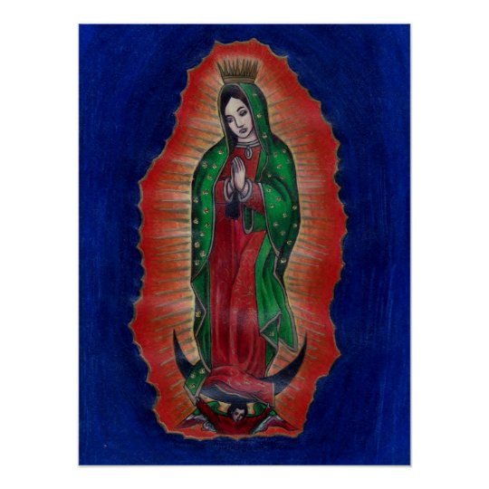 Virgen de Guadalupe Coloured Pencil Art Poster