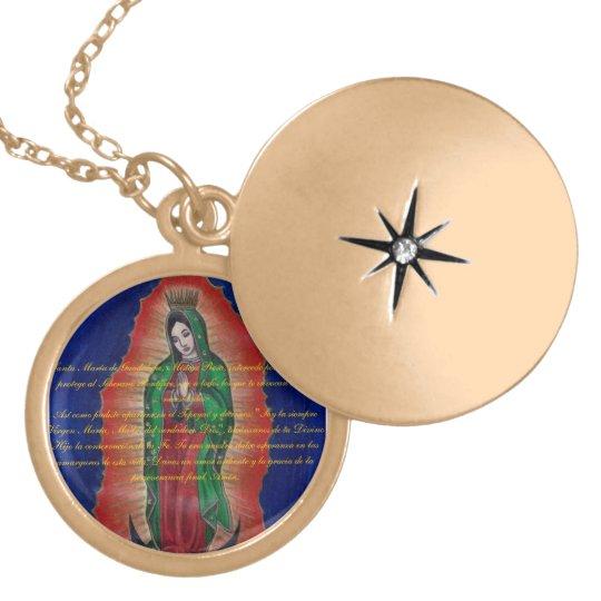 Virgen de Guadalupe Oracion Medalion Locket Necklace