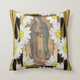 Virgen de Guadalupe with daisies Cushion