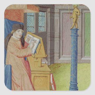 Virgil writing before Artemis Square Sticker