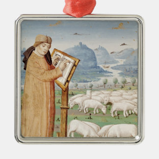 Virgil Writing in a Field of Sheep and Goats Silver-Colored Square Decoration
