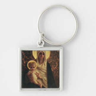 Virgin and Child, 1872 Silver-Colored Square Key Ring
