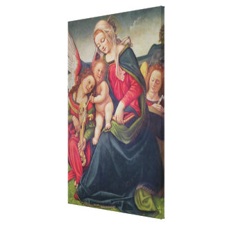Virgin and Child and angel musicians Canvas Prints