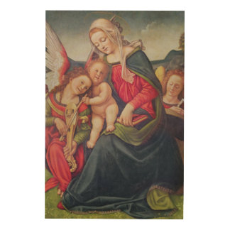 Virgin and Child and angel musicians Wood Print