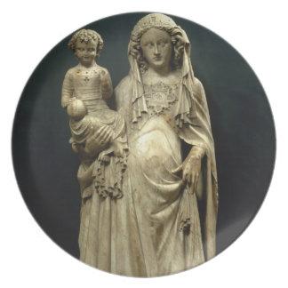 Virgin and Child, c.1375 (alabaster) Dinner Plate