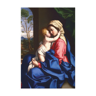 Virgin and Child Embracing by Sassoferrato Canvas Print