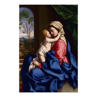 Virgin and Child Embracing by Sassoferrato Poster