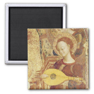 Virgin and Child Enthroned with six angels Square Magnet