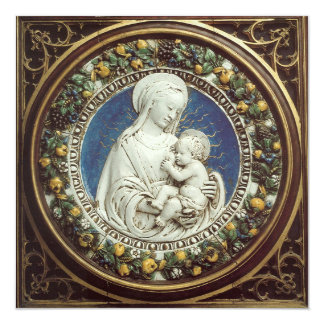VIRGIN AND CHILD FLORAL CROWN Blue Gem Christmas Card