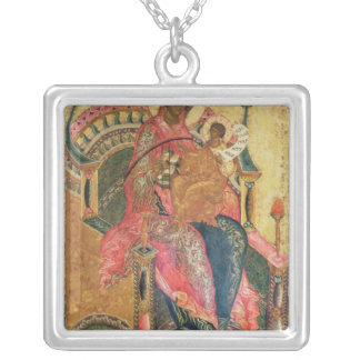 Virgin and Child, Moscow School Square Pendant Necklace