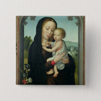 Virgin and Child (oil on panel) 15 Cm Square Badge