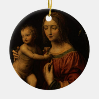 Virgin and Child (oil on panel) 2 Christmas Ornament