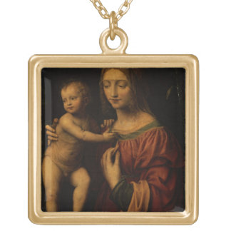 Virgin and Child (oil on panel) 2 Personalized Necklace