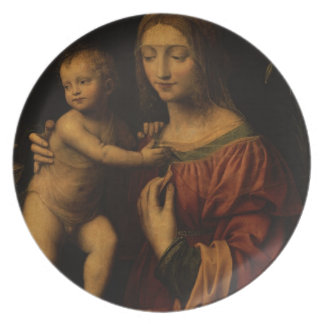 Virgin and Child (oil on panel) 2 Plates