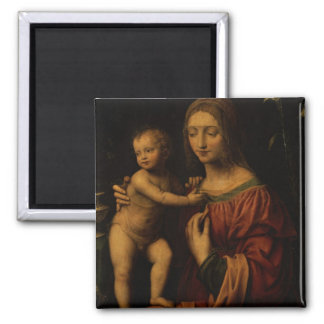 Virgin and Child (oil on panel) 2 Square Magnet