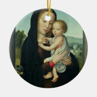 Virgin and Child (oil on panel) Christmas Ornament