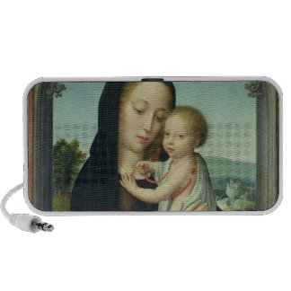 Virgin and Child (oil on panel) Portable Speakers