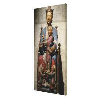 Virgin and Child, (polychrome wood) Canvas Print