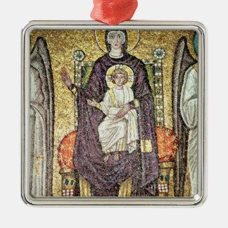 Virgin and Child Silver-Colored Square Decoration