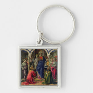 Virgin and Child surrounded by Angels Silver-Colored Square Key Ring