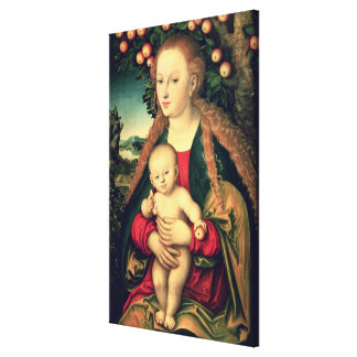 Virgin and Child under an Apple Tree Canvas Print