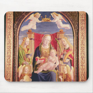 Virgin and Child with angel musicians and saints Mouse Mat