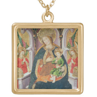 Virgin and Child with Angel Musicians Gold Plated Necklace