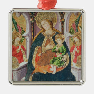 Virgin and Child with Angel Musicians Silver-Colored Square Decoration