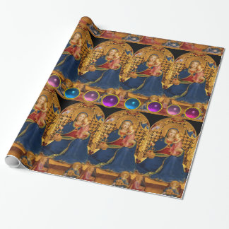VIRGIN AND CHILD WITH ANGELS ,PINK BLUE GEMSTONES WRAPPING PAPER