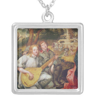 Virgin and Child with Angels Silver Plated Necklace