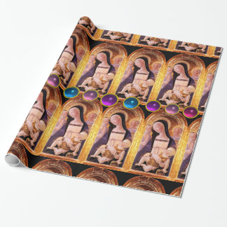 VIRGIN AND CHILD WITH BLUE ,PINK,PURPLE GEMSTONES WRAPPING PAPER