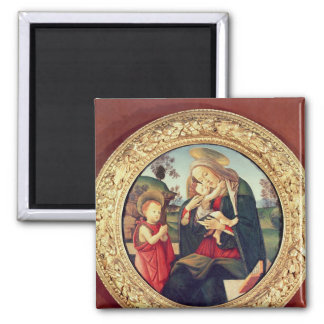 Virgin and Child with John the Baptist Square Magnet