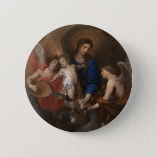Virgin and Child with Music Making Angels 6 Cm Round Badge