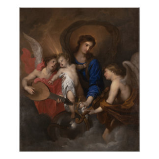 Virgin and Child with Music Making Angels Poster
