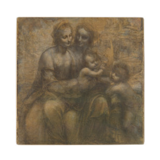 Virgin and Child with St Anne by Leonardo da Vinci Wood Coaster