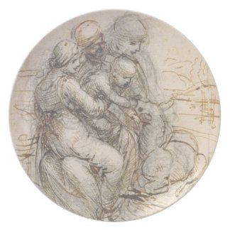 Virgin and Child with St. Anne, c.1501-10 (pen and Dinner Plates