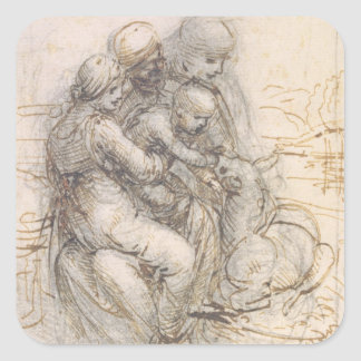 Virgin and Child with St. Anne, c.1501-10 (pen and Square Stickers