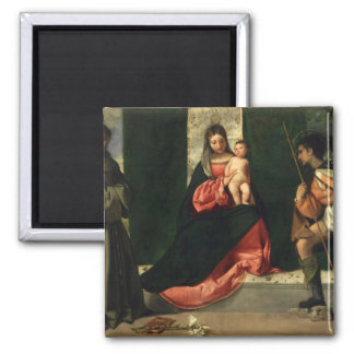Virgin and Child with St. Anthony of Padua Square Magnet