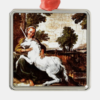 Virgin and the Unicorn Christmas Ornament