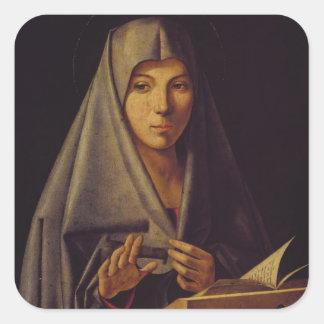 Virgin Annunciate oil on panel Square Sticker