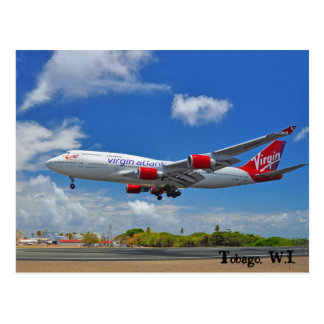 Virgin Atlantic Landing In Tobago Postcard