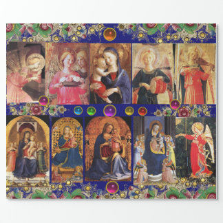 VIRGIN,CHILD AND ANGELS,Gold Blue Floral Christmas Wrapping Paper