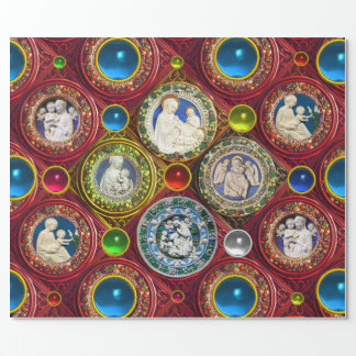 VIRGIN,CHILD,ANGELS,FLORAL CHRISTMAS CROWNS,GEMS WRAPPING PAPER