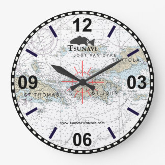 Virgin Islands Nautical Chart Clock