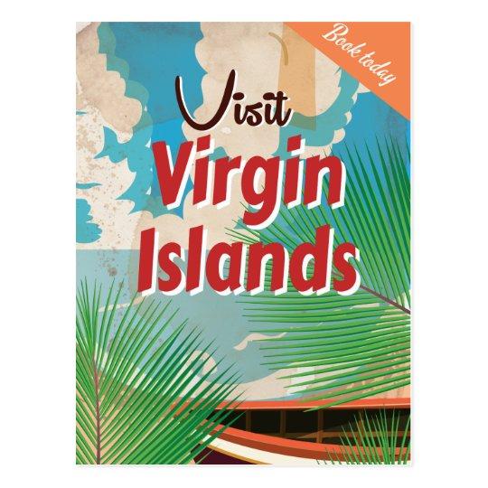 Virgin Islands vintage travel poster Postcard