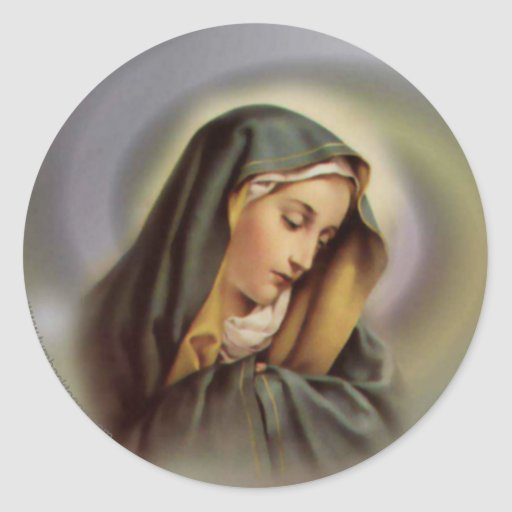 Virgin Mary 2 Round Sticker